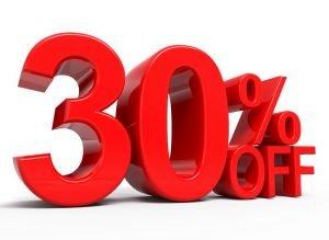 30 per cent off